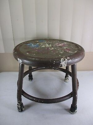 "Vintage Industrial Metal And Wood Royal Mfg Co Circular  Stool 12"" Tall"