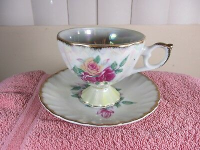 Antique Germany KPM Porcelain Three Roses Floral Cup & Saucer Set Yellow (4)