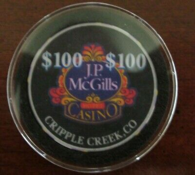 JP McGills $100 Casino Collector Chip Cripple Creek Colorado Near Mint in Case
