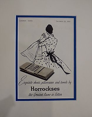 Vintage Advertisement mounted ready to frame Horrockses Cotton 1954