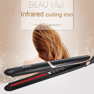 2-IN-1 Infrared Hair Straightener Ceramic Plate LED Display Flat Iron Curler EU