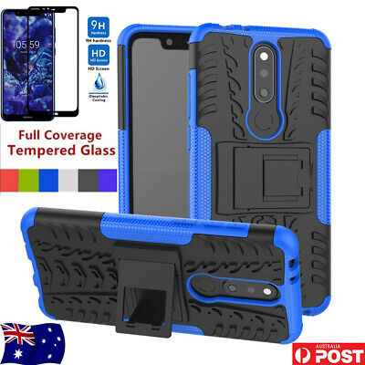 Shockproof Rugged Armor Case Heavy Duty Cover For Nokia 5.1 plus +Tempered Glass