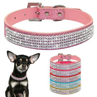 Crystal Pet Dog Collars Fancy Small Bling Dog Collar Dog Cat Necklace XS S M