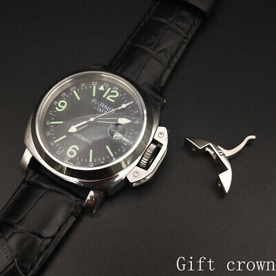 parnis automatic GMT pam watch 44mm military steel polished case black strap TA-