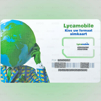 Prepaid SIM-card NL Lycamobile Netherlands Holland € 10 for Free 3-in-1 Karte