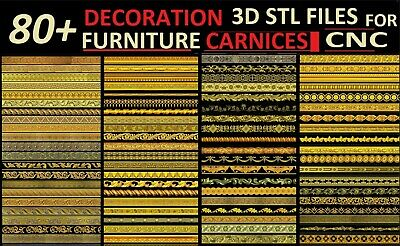 Furniture Cornices 80 + LOT 3D Model STL relief for CNC format DECOR  ASPIRE ART