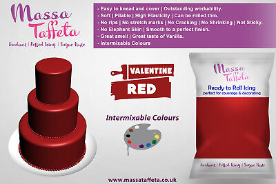 Massa Taffeta | Fondant Sugar paste Ready to Rolled Icing Cake Craft | Deep Red