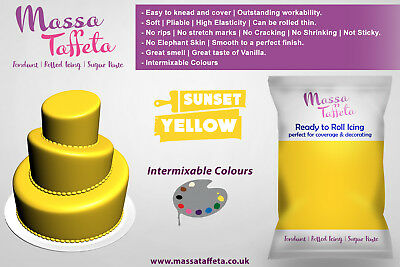 Massa Taffeta Fondant Sugar paste Ready to Rolled Icing Cake Craft | Yellow
