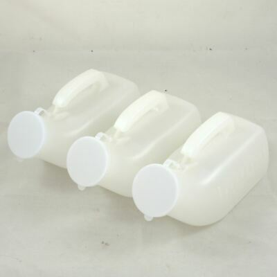 3 x Medisure Male Urine Urinal Bottles with White Lid and Measurements 1000ml