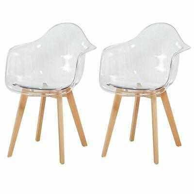 2 x Retro Tulip Style Plastic Dining Chair Transparent Clear Living Room Chair