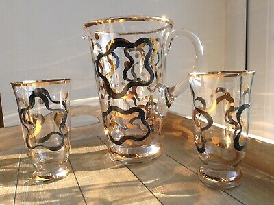 A Vintage 1950s Glass Jug And Two Glasses. Ideal For  Parties. Perfect Gift.