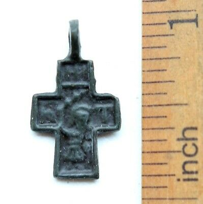 Ancient Russian Orthodox Bronze Cross Pendant ''Nikita Besogon'' (NRL01)