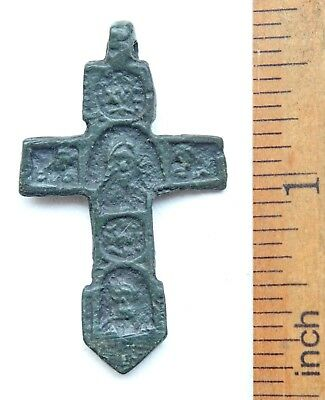 Ancient Russian Orthodox Bronze Cross With Savior Image (NRL03)