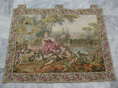 5028 - Old French / Belgium Tapestry Wall Hanging - 80 x 103 cm