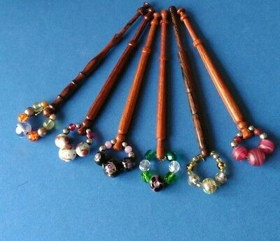 6 Wooden Turned Lace Bobbins with Pretty Spangles.