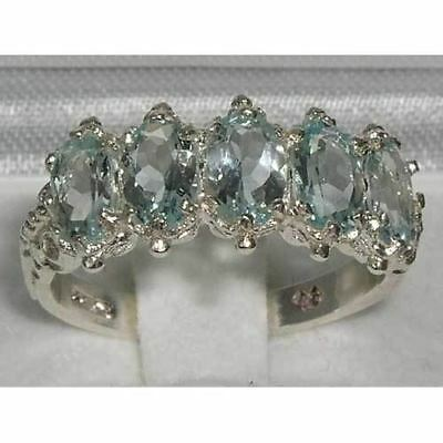 Victorian Design Solid English Sterling Silver Natural Aquamarine Ring