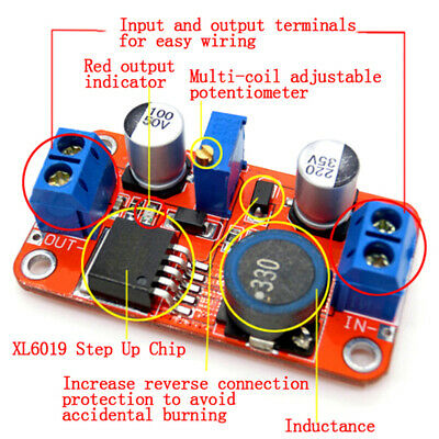 5A DC-DC step up power module boost volt converter 3.3V-35V to 5V 6V 9V12V24V BL