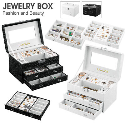 Large Jewellery Box Girls Rings Storage Organiser Display Holder Travel Case AUS