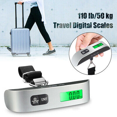 Portable Travel 110lb 50kg LCD Digital Luggage Scale Hanging Weighing Suitcase