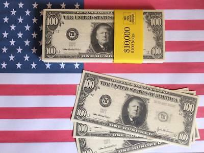 100 x  DONALD TRUMP NOVELTY DOLLARS Fake USA U.S Play Money Fun Pretend Prop