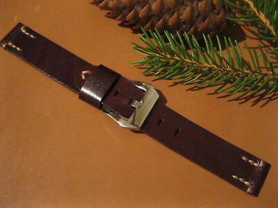 Leather Watch Band Strap Handmade 20mm, Brown (16mm, 18mm, 22mm)