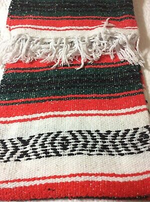 "Authentic Mexican Falsa Hand Woven Blanket 74"" x 50""  Yoga/ Imported"