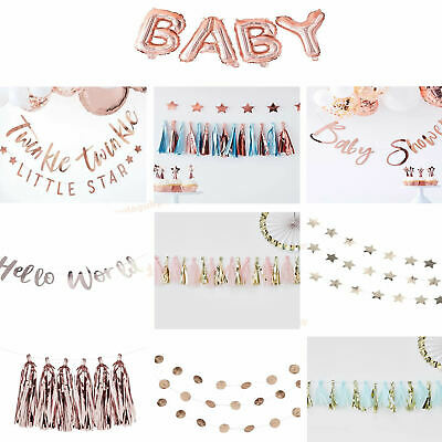 OH BABY ROSE GOLD Shower Party Gender Reveal GARLAND Twinkle Star Decorations
