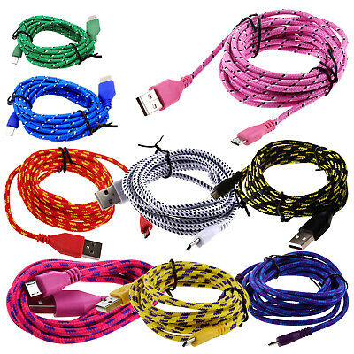 3M Braided Fabric Mini USB Data&Sync Charger Cable Cord For Cell Phone Blac E1W5