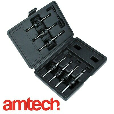 7Pc TAPERED DRILL BITS with COUNTERSINKS in BOX Hex Allen Key Stop Collars Pilot