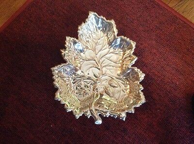 Antique Crescent Silver Co silverplate footed leaf shape bowl Plate