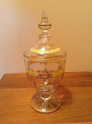 Beautiful vintage covered floral candy dish