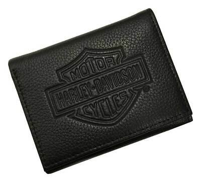 MSB8352-BLAC Harley-Davidson® Men/'s B/&S Embossed Tri-Fold Leather Wallet Black
