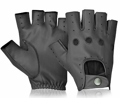 Half Finger Leather Driving Gloves Mixed Styles Available Black Brown Tan S-XL