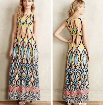 6bfb515c7483 Anthropologie Floreat Dahilia Sleeveless Maxi Dress Spring Colors Size 6