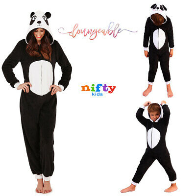 Loungeable Womens Or Kids Mini Me Luxury Soft Fleece Novelty 3D Panda All In One