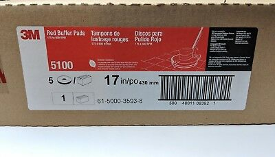 """3M Red Buffer Pad 5100, 17"""", 5/Case, Lot of 1 Commercial Floor Cleaning"""