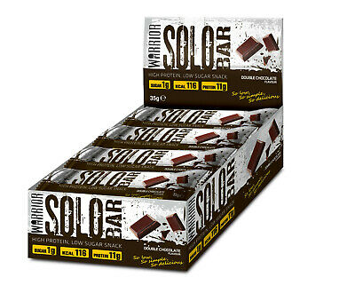 Warrior SOLO Protein Bars 35g x 12 Tasty High Protein Low Carb Double Chocolate