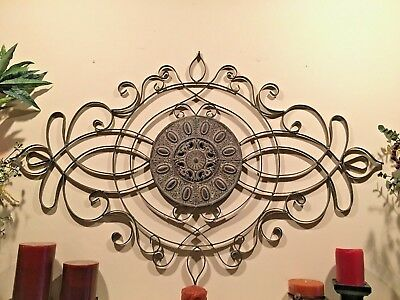 Large Classic Scroll Wrought Iron Metal Wall Decor Rustic Antique Style