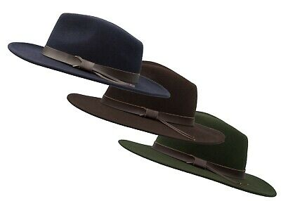 8f6e511a Walker & Hawkes - Unisex Ranger Fedora Crushable Felt Hat with Leather Trim