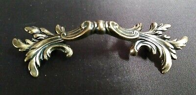 "Antique Brass Leafy French Provincial Furniture Dresser Drawer Pull 2-1/2"" C-C"