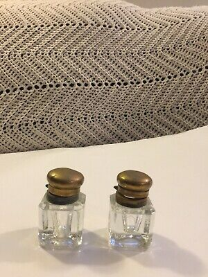 Vintage Matching Pair Of Glass Ink Wells With Brass Lids
