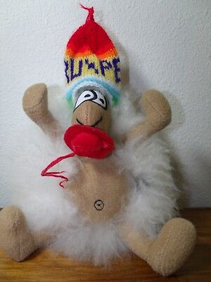 Funny Real Fur Llama Plush W/ Knit Hat, Hand Crafted, Super Soft