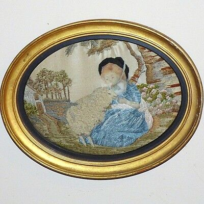 Early 19th Century Embroidery of a Girl and Her Pet Sheep