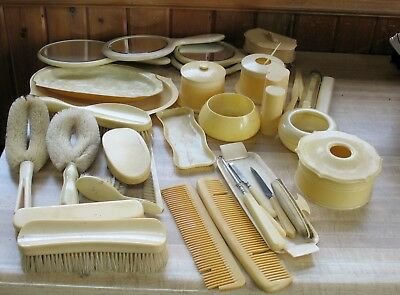 Vintage Celluloid Dresser set mirror brush jars & accessories Large Lot 40+