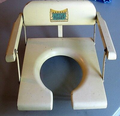 Vintage Child's Toddler Wood Potty Training Chair Little Toidey Good Decal Decor