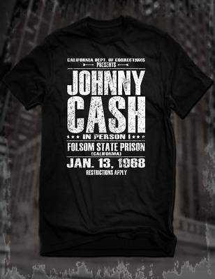 New Black Johnny Cash Live At Folsom Prison T-Shirt Vintage Poster Country Tee
