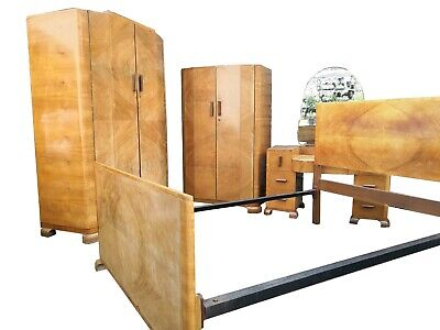 QUALITY ART DECO 1930s WALNUT BEDROOM SUITE