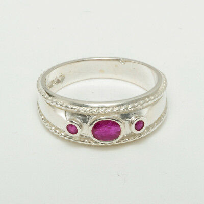 Solid 14ct White Gold Natural Ruby Womens Trilogy Ring - Sizes J to Z