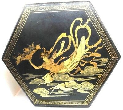 Antique Gilded Black Lacquer Large Hexagon Asian CHINOISERIE Sewing Box