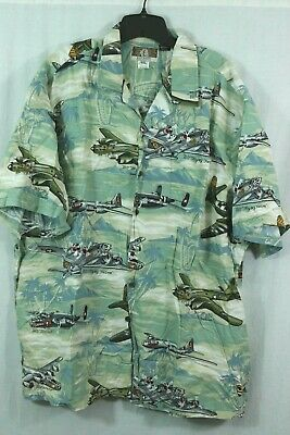 fd67456c8 KALAHEO 3XL Hawaiian Shirt Floral Fighter Planes Bombers Print B-29 B-17 USA